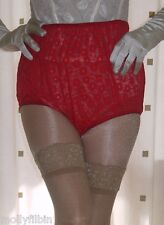 Style vintage rouge sheer lace granny full briefs culotte culotte taille l