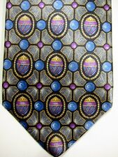 NEW Faberge Gray Flowers With Purple and Gold Eggs Silk Tie