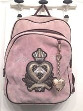 Authentic Juicy Couture Mauve Pink Velour Backpack Book Travel Bag Heart Charm