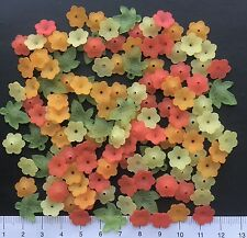 130 + lucite/plastic beads 11 / 17mm 20 gms  TINY CITRUS FLOWERS/LEAVES  Pack 47