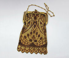 Whiting and Davis 1930s deco mesh & enamel bag purse -  gold tone - red pattern