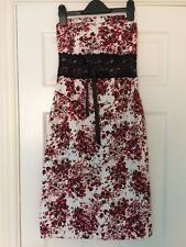 JANE NORMAN Red White Black Floral Bodycon Strapless Wedding Party Dress Size 8