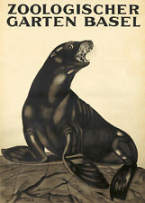 Original Vintage Poster Eggenschwyler Basel Zoo Seal Animal 1920 Switzerland Art