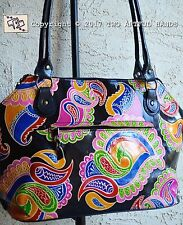 HANDMADE GOAT LEATHER Tooled PAINTED Floral PAISLEY Shantiniketan India HANDBAG