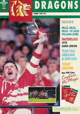 Dragones cuestión 4 Jun 1992 Rugby Mag Hugh william-jones Garin Jenkins Wrexham
