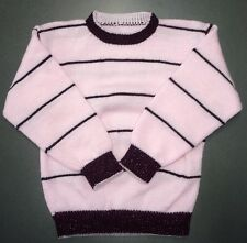 Girls Homemade Knitted Pink Jumper Purple Glitter Thread Stripes 5 Years