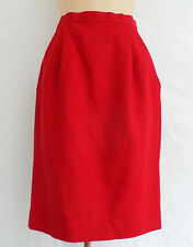 Givenchy Red Wool Pencil Skirt Size 6/36 Pleated Front EUC
