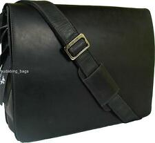 NEW VISCONTI VINTAGE STYLE  HUNTER OIL BLACK LEATHER BRIEFCASE MESSENGER BAG