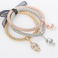 Ladies 3 Piece Rose Gold/Silver/Gold Effect Bracelet Set & Skull Diamante Charms