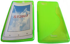 TPU Rubber Pattern Gel Case Protector Cover GREEN For Sony Xperia J ST26i ST26