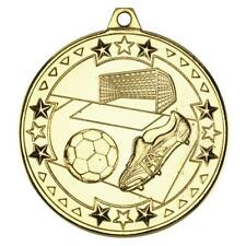 15 x 50mm Gold Football Themed Medals with Ribbons (M70G)