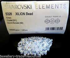 25 x 4 mm Swarovski Elements 5328 XILION Clear Crystal Bicone cordone 001 AB