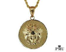 """Medusa 10k Yellow Gold Pendant with Rope Chain 26"""" Set Hiphop Jewelry"""