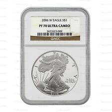 2006 W American Silver Eagle 1oz NGC PF70 Ultra Cameo Graded Slab Coin
