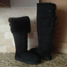 UGG Bailey Button Over The Knee Black Suede/Sheepskin Boots US 8 Womens 1007536