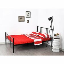 NEW Stylish Sturdy Metal Bed Frame 4FT6 Double for Adult Children Black Bedstead
