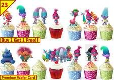 46 TROLLS Edible Cup Cake Fairy Wafer Toppers Birthday Party Kids *STAND UP*