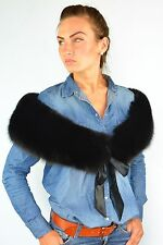 Finest Quality Black Fox Fur Women's Furry Collar Scarf/Shawl/Wrap Neck