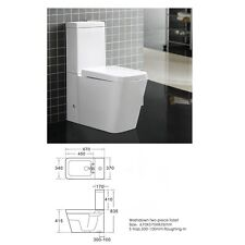 Square White Close Coupled BTW Toilet Pan Cistern WC Modern Bathroom