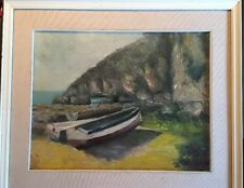 Original Oil Painting Sea Scape Signed Impressionist Boats And Mountain Nice!