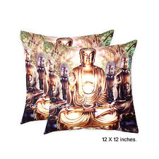 "Brown Decorative Cushion Cover Indian Pillow Throw Lord Buddha Velvet Case 12"" @"
