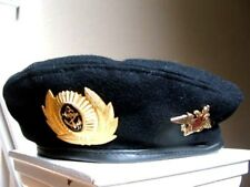 RUSSIAN  ARMY MILITARY UNIFORM BLACK BERET MARINES NAVAL HAT WITH BADGE INSIGNIA
