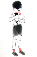 Newberry YOUNG BOY Holding BLACK KITTEN 1936 Cat Illustration Art Print Matted