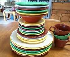 SET 28 HOMER LAUGHLIN MULTI16 SIDED HARLEQUIN DINNER SALAD PLATE BOWL CUP Fiesta