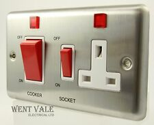 Volex Metal Plate VX9700SS - 45a Cooker Control + Socket With Neons Un-used