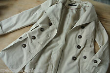 ZARA BASIC * samtig weicher Trench * Doppelreiher * british look * autumn * Gr L