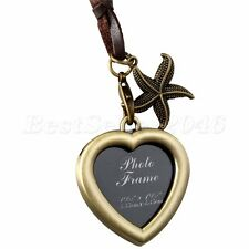 Fashion Heart Shaped Friend Photo Picture Frame Locket Pendant Leather Necklace