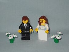 NEW CUSTOM LEGO WEDDING BROWN, BRUNETTE HAIR BRIDE AND GROOM MINIFIGURES