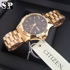 Men's Luxury Citizen Gold Stainless Steel Analog Round Metal Band Dress Watch