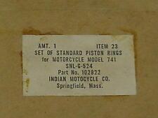 NOS Indian Model 741 Piston Ring Set Standard 102822 (B)