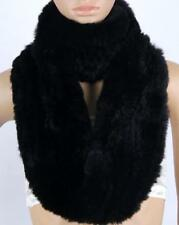 Women real Rex rabbit Fur loop scarf shawl stole collar Wrap Winter Scarf Black