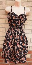 PRIMARK PAISLEY BLACK GYPSY BOHEMIAN SKATER RUFFLE STRAPPY A LINE PUFF DRESS 18