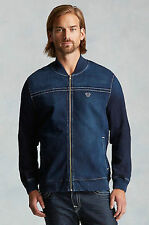 True Religion Men's Blue Denim Bomber Varsity Flight Jacket Coat XXXL 3XL