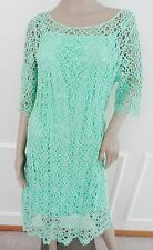 Nwt Lauren Ralph Lauren Crocheted Lace Cocktail Sheath Dress Sz L Large Yellow