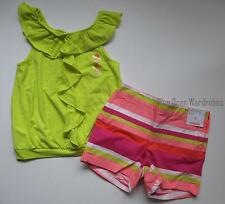 Gymboree Bright and Beachy Ruffle Tee Tank Top & Stripe Shorts Set Girls 10 NWT