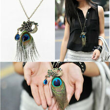 Exquisite Vintage Rhinestone Long Section of Peacock Feather Necklace Unusual