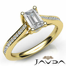 Emerald Cut Diamond Channel Set Engagement Ring GIA E VS1 18k Yellow Gold 1.02Ct