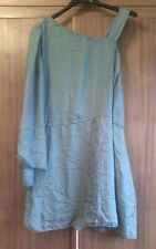 Abito corto donna seta verde L dress silk green turchese popeline AQUAMARINE