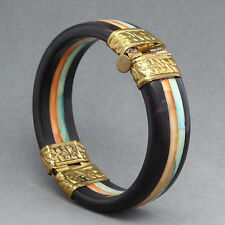 VINTAGE DYED SHELL INLAY HINGED BLACK BANGLE BRACELET INDIA BRASS PIN CLOSURE