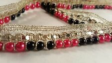 Beautiful 18mm gold ribbon with black & hotpink pearls trim lace 4 crafting 1m