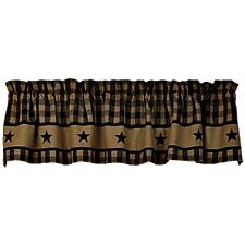 New Primitive BLACK COUNTRY STAR Homespun Checked Curtain Valance