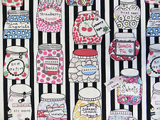 by METRE black stripe SWEETIE JARS 100% Cotton Fabric candy vintage white sweets