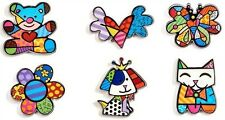 ROMERO BRITTO 'Six Icons (Dog, Cat, Bear, Flower...)' Alloy Magnet Set of 6 NEW!