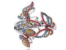 Lady Antique Rainbow Crystal Rhinestone Butterfly Trio Bracelet Bangle Cuff
