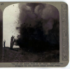 WW1 STEREO CARD PHOTO(45) Mines Fired at St. Eloy YPRES