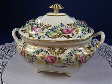 Antique Georgian Early 19th Century Derby Sucrier ~ Hand Painted Rose Barbeau